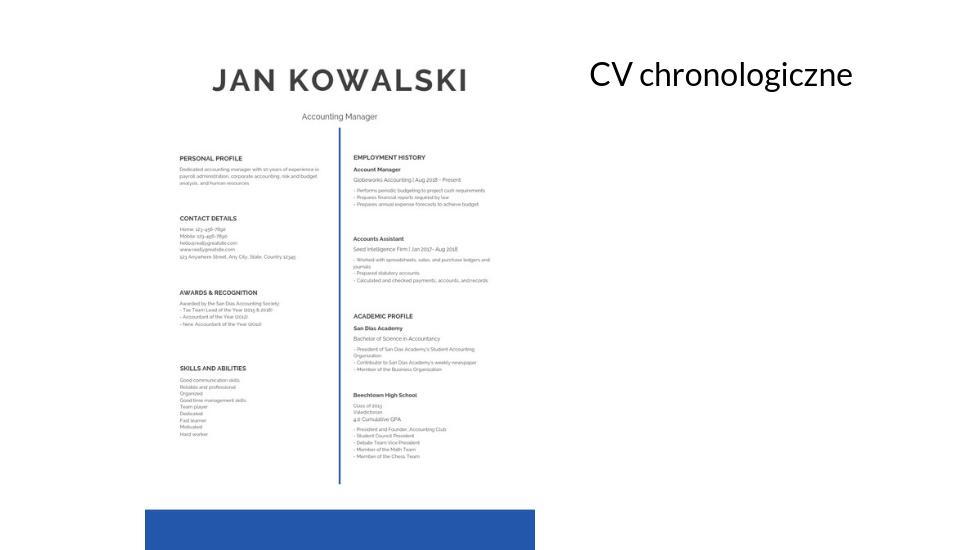 Forma Cv Chronologiczne Funkcjonalne Kreatywne Przykłady Cv